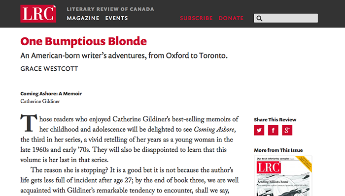 Literary Review of Canada masthead